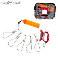 Кукан Fish2Fish с намоткой оранжевый с карабином и поплавком.