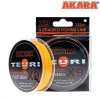 Плетёный шнур Akara Teuri X-9 135м, жёлто-оранжевый